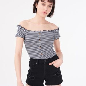 Seriously Soft Striped Off Shoulder Top Size Large